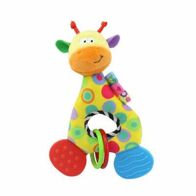 Newborn Infant Baby Soft Plush Toy Lovely Teether Rattle Teething Toy (Giraffe)