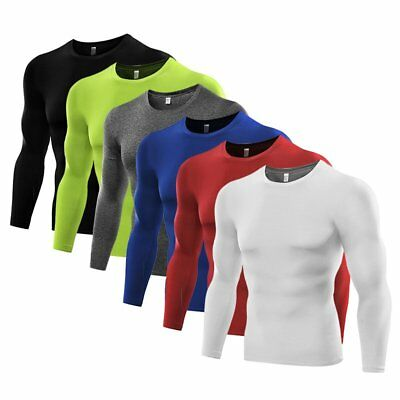 Mens Sports Gym Compression Under Base Layer Tops Long Sleeve Quick Dry T-Shirt