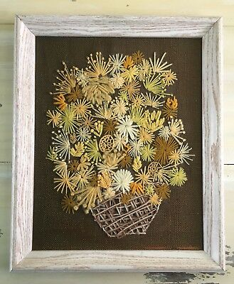 FLORAL CROSS STICH: Vtg 60s Mod Needlepoint Embroidery Wood Framed Picture 19x23