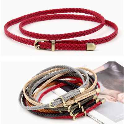 Fashion Women Ladies Girls Faux Leather Braided Belt Thin Waist Rope Adjustable
