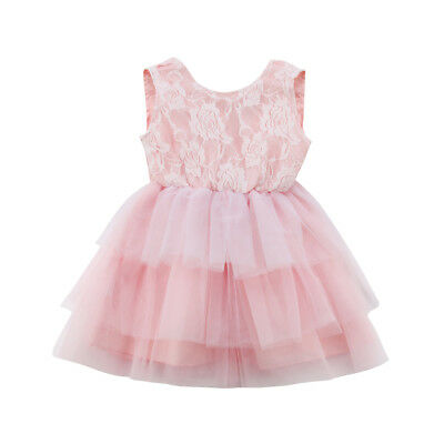 Baby Girl Lace Tulle Bowknot Dress Party Wedding Pageant Princess Dresses AU