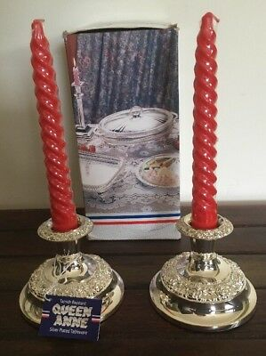 Queen Anne Silver Plated Candle Holders Pair Like New With Original Tags & Box