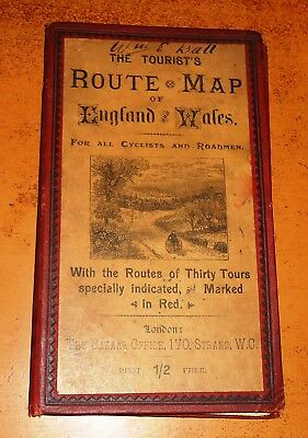 ENGLAND AND WALES Cyclists and Roadmen CLOTH Antique Map BAZAAR OFFICE Adverts