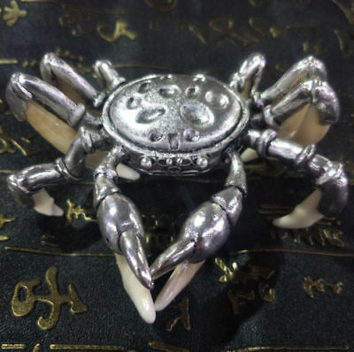 Chinese Antique Boars Tooth Wild Hog Silver crab protective talisman Statues