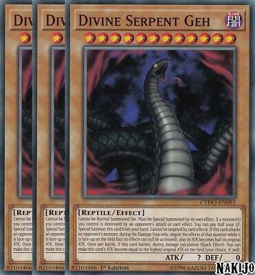 Yugioh - 3x Divine Serpent Geh CYHO-EN092 Common - 1st Ed - NM/M