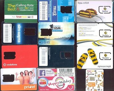 24 different planks of SIM cards from around the world phone bank card viza
