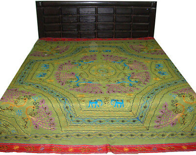 Bohemian Embroider Elephant Peacock King Bed-Sheet Bed-Cover Large Wall Tapestry