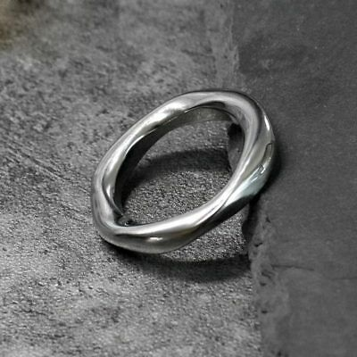 316L Stainless Steel Unique Silver Color Men Women Twisted Ring Sz 6-10