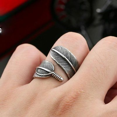 Fashion Men Women Jewelry Punk Feather 316L Stainless Steel Ring G277 Sz 7-13
