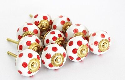 20 Red dot hand painted Ceramic Cabinet Door Knobs Kitchen Drawer Cupboard Pulls