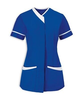 Asymmetrical Vneck Tunic Nurses Uniform Nhs Royal Blue With  White Trim Ins33Rb