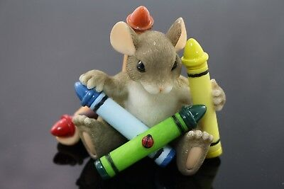 """Charming Tails Crayons """"You're So Colorful""""  Fitz & Floyd Mouse Figurine"""