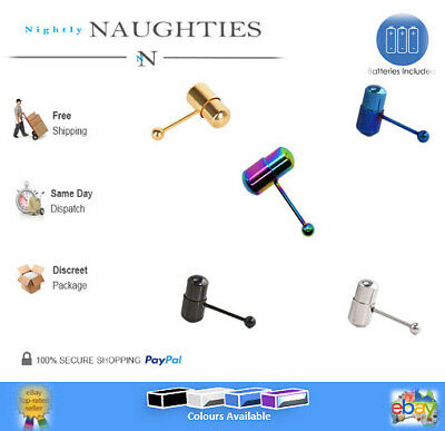New Vibrating Tongue Ring Bar Stud Body Nipple Piercing Multi Colours Available