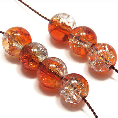 Lot de 30 perles Craquelées en Verre 8mm bicolore Orange cristal