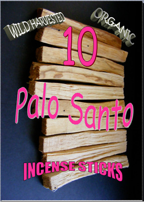 PALO SANTO HOLY WOOD ORGANIC🌕 Sacred INCENSE/SMUDGE STICKS X 10 pack
