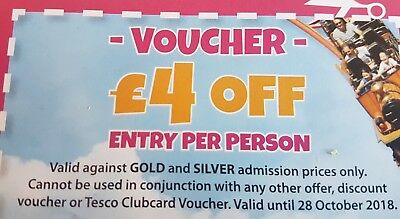 2018 -Pleasurewood Hills Voucher.  £4 Off Per Person