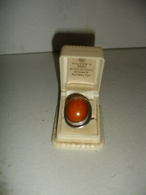 Antique Real Natural Amber - African Trade Bead RING ( sterling )