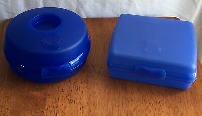 Tupperware Lot/2 Blue Sandwich Containers Bagel & Square/Traditional