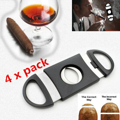 4Pcs Pocket Cigar Cutter Stainless Steel Double Blades Guillotine Knife Scissors