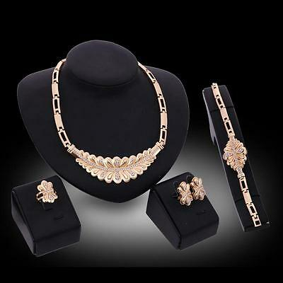 Fashion Women 18K Gold Plated Wedding Crystal Necklace Ring Earrings Jewelry Set