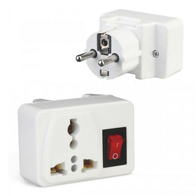 EU Plug Switch Electric Plug With On/Off Adapter Socket Power Source Charger