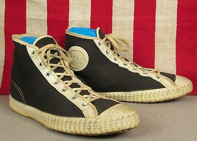 Vintage 1940s Ball Band Canvas Basketball Sneakers High Top Sz 8 Athletic Shoes