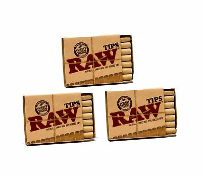 Raw Natural Unrefined Pre-Rolled Filter Tips 3 Pack (21 Per Box) Pack of 3