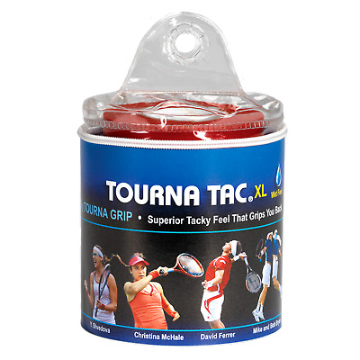 Tourna Tac 30 Pack Tennis Badminton XL Overgrip - Black -Travel Pouch - Wet Feel