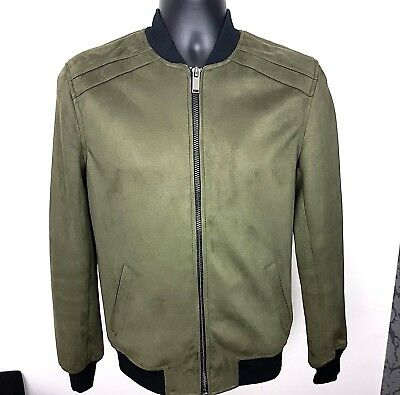 df7863b4d RIVER ISLAND JACKET Bomber Zip Pockets Faux Suede Green Size XS