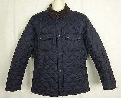 Barbour Navy Tinford Quilted Lightweight Jacket w/ Brown Corduroy Collar ~ Small