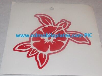 Turtle / Hibiscus Shell Red Vinyl Window Car Tattoo Decal Sticker 4""