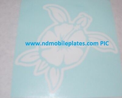 Turtle / Hibiscus Shell White Vinyl Window Car Tattoo Decal Sticker 4""
