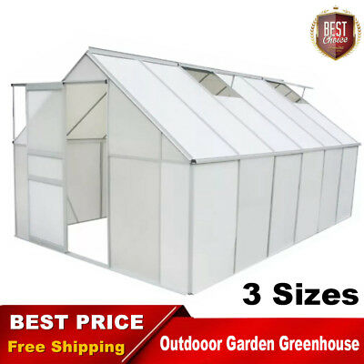 Greenhouse Garden Plant House Polycarbonate and Aluminium Transparent Multi-Size