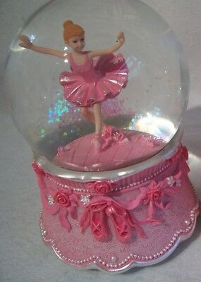 Pink Ballerina Child Dancing Girl Musical Glitter Globe Dome Gisela Graham NEW