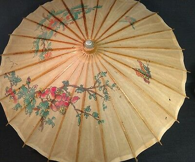 Chinese Oriental Antique Paper Umbrella Parasol~Butterfly~Wood Handle~Coated~32