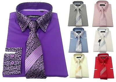 Boys Shirt & Tie Set Silky Patterned Smart Formal Wedding Party 1-13 Years (702)