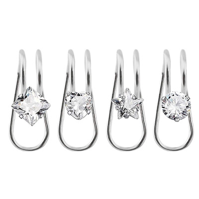 Stainless Steel Cubic Zirconia U-Type Clip On Ear Cuff Studs Earring Set 4Pcs