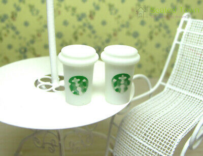 Doll House Miniature Starbucks Coffee Cups Food Drink Beverage 1/6 Toy Decor 2pc