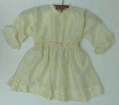 Antique Embroidered Silk Gown Dress Baby Dolls Victorian Edwardian Christening