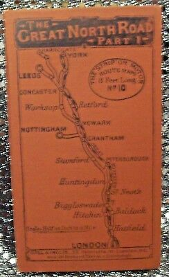 """THE GREAT NORTH ROAD, PART 1-LONDON TO YORK, rare """"strip"""" map (Gall and Inglis)"""