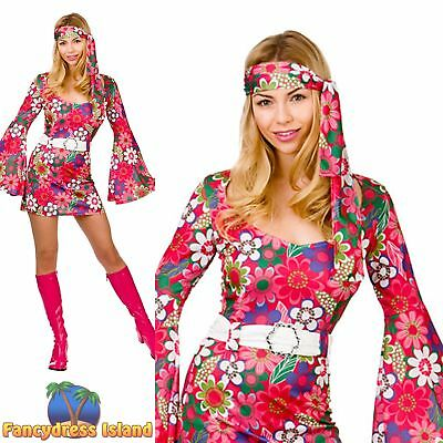 1960's 60s Bright Pink Retro Go Go Girl Groovy Mod Womens Fancy Dress Costume