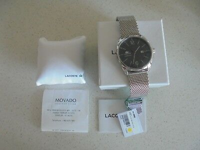 Mens Lacoste Black Face Metal/mesh Band Watch - Nib