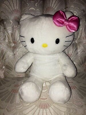 Build a Bear Plush Sanrio White Hello Kitty w/ Pink Bow Stuffed Animal