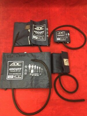 LOT OF 4 ADC Reusable Blood Pressure Cuffs, Child, Adult & Large Adult