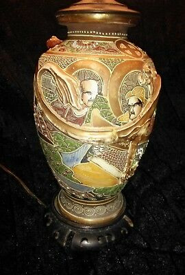 Antique Japanese Satsuma Lamp Moriage Gold Gilt Immortals & Dragon High Relief