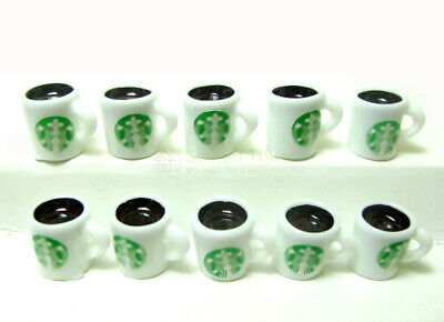 10pc Dollhouse Miniature Starbucks Hot Coffee Cup Mugs Food Drink Beverage Model