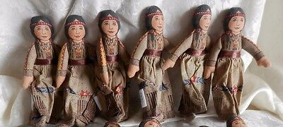 """Price Reduced!! WHOLESALE LOT OF (6) HALLMARK INDIAN GIRL 6"""" CLOTH DOLLS"""