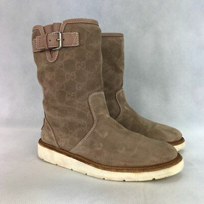 4b690325f GUCCI WOMENS BEIGE SUEDE GG GUCCISSIMA QUERCY FLAT BOOTS Size  US 7 EU 37