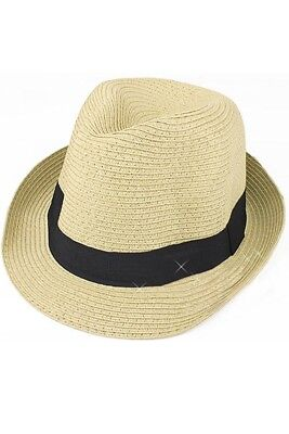 Straw Hat Fedora - Panama Trilby Style Packable Crushable Summer Sun Mens  Lad WR 6b68804108bc