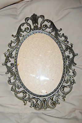 13.5 Vintage Italy? Antique Brass Metal 9 x 7 Frame w/Convex-Curved-Bubble Glass